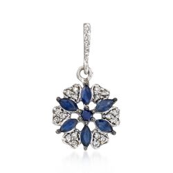 .54 ct. t.w. Sapphire and .15 ct. t.w. Diamond Floral Pendant in 14kt White Gold, , default