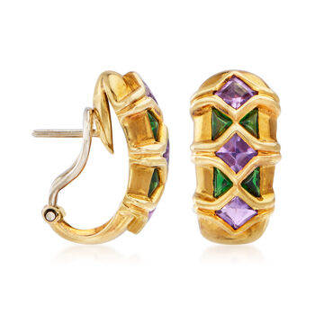 C. 1980 Vintage Tiffany Jewelry 1.20 ct. t.w. Amethyst and .50 ct. t.w. Green Tourmaline Earrings in 18kt Yellow Gold
