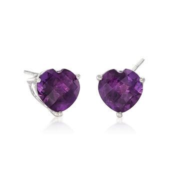 5.50 ct. t.w. Amethyst Heart Stud Earrings in Sterling Silver, , default