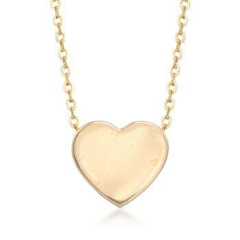 "14kt Yellow Gold Heart Pendant Necklace. 16"", , default"