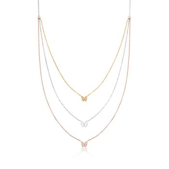 """.12 ct. t.w. CZ Layered Butterfly Necklace in Tri-Colored Sterling Silver. 16"""", , default"""