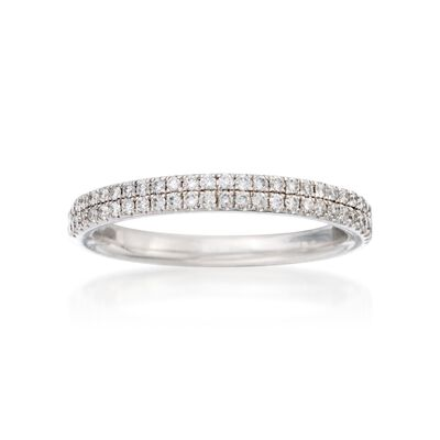 Henri Daussi .30 ct. t.w. Two-Row Pave Diamond Wedding Ring in 18kt White Gold