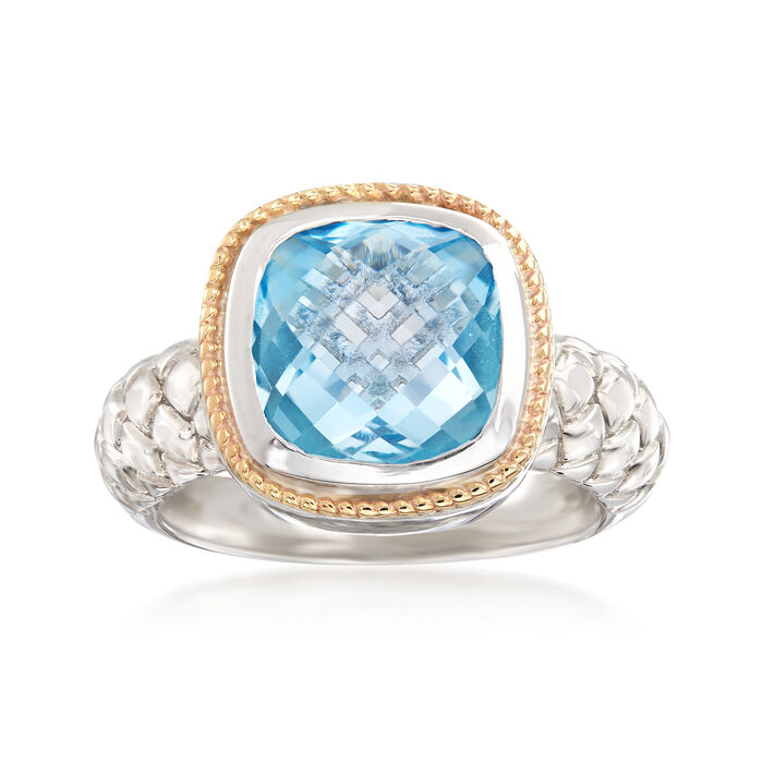 4.60 Carat Cushion-Cut Blue Topaz Ring in Sterling Silver and 14kt Yellow Gold, , default