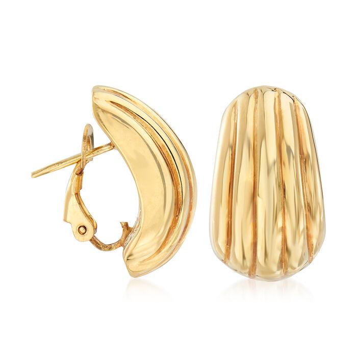 Italian 18kt Yellow Gold Grooved Earrings