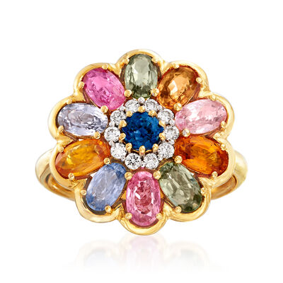 3.60 ct. t.w. Multicolored Sapphire and .15 ct. t.w. Diamond Flower Ring in 18kt Yellow Gold