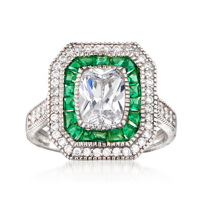 1.75 ct. t.w. CZ and .60 ct. t.w. Simulated Green Spinel Ring in Sterling Silver
