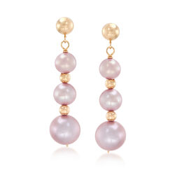 5-9mm Pink Cultured Pearl Drop Earrings in 14kt Yellow Gold, , default