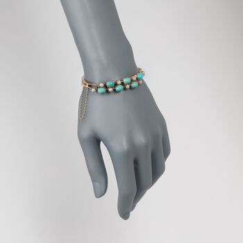 """C. 1950 Vintage 4mm Cultured Pearl and Turquoise Bangle Bracelet in 14kt Yellow Gold. 7"""", , default"""