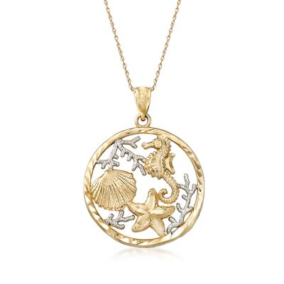 14kt Two-Tone Gold Sealife Pendant Necklace, , default