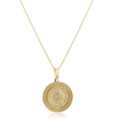 14kt Yellow Gold Framed Christopher Medal Pendant Necklace, , default