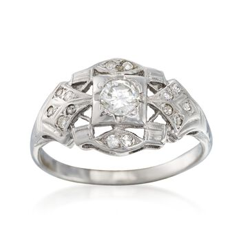 C. 1950 Vintage .45 ct. t.w. Diamond Ring in 14kt White Gold. Size 8, , default