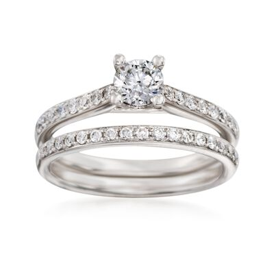 .84 ct. t.w. Diamond Bridal Set: Engagement and Wedding Rings in 14kt White Gold, , default