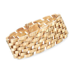 "C. 1980 Vintage 14kt Yellow Gold Geometric Bar-Link Bracelet. 8"", , default"