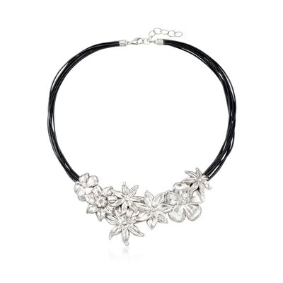 Sterling Silver and Black Leather Floral Necklace, , default