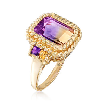 4.40 Carat Ametrine, .20 ct. t.w. Amethyst and .10 ct. t.w. Citrine Ring in 14kt Yellow Gold