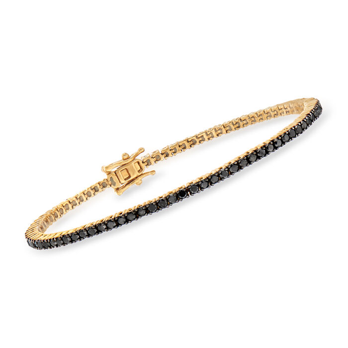 3.00 ct. t.w. Black Diamond Tennis Bracelet in 18kt Gold Over Sterling