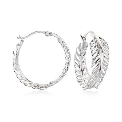 Sterling Silver Feather Hoop Earrings, , default