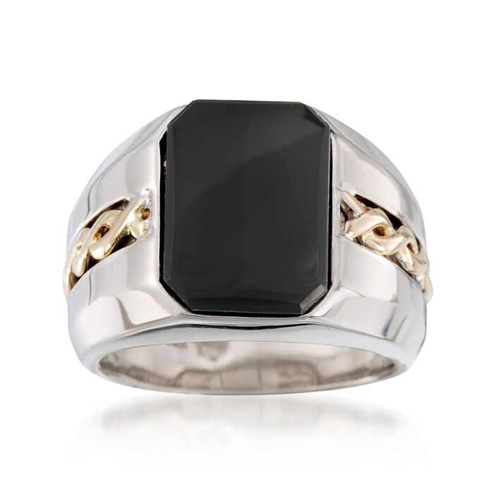 Men's Black Onyx Ring in Sterling Silver and 14kt Yellow Gold , , default