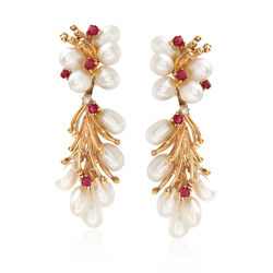 C. 1970 Vintage Cultured Pearl and .50 ct. t.w. Ruby Drop Earrings With Diamond Accents in 14kt Yellow Gold, , default