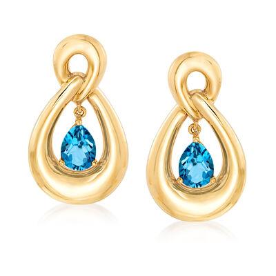 2.60 ct. t.w. London Blue Topaz Drop Earrings in 14kt Yellow Gold, , default