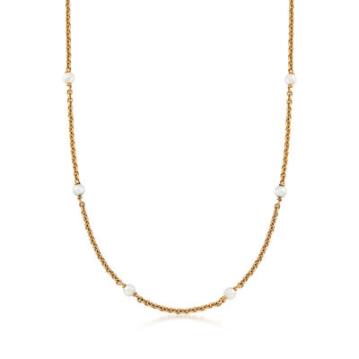 C. 1960 Vintage White Cultured Pearl Station Necklace in 14kt Yellow Gold, , default