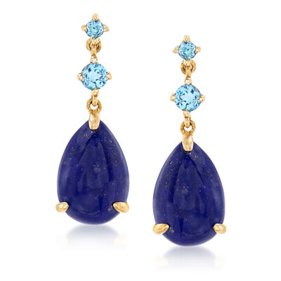 Lapis and .30 ct. t.w. Blue Topaz Drop Earrings in 14kt Yellow Gold, , default