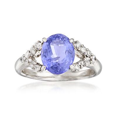 C. 1990 Vintage 2.70 Carat Tanzanite and .35 ct. t.w. Diamond Ring in Platinum, , default