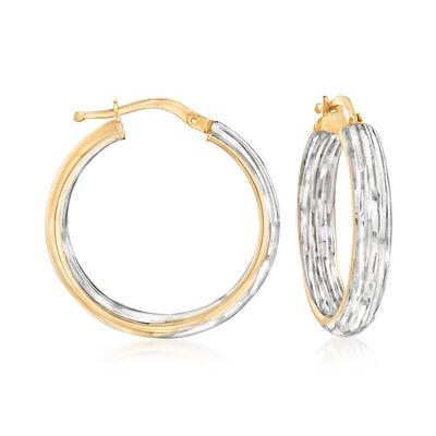 Italian 14kt Two-Tone Gold Inside-Outside Hoop Earrings, , default