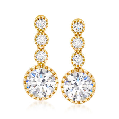 4.40 ct. t.w. CZ Drop Earrings in 18kt Yellow Gold Over Sterling Silver