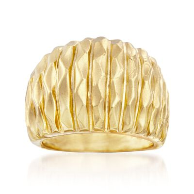 Italian 24kt Yellow Gold Over Sterling Silver Wide Textured Ring, , default