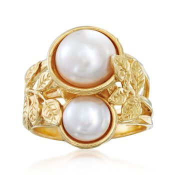 8-10mm Cultured Pearl Leaf Ring in 18kt Gold Over Sterling, , default