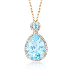 9.75 ct. t.w. Blue and White Topaz Pendant Necklace in 18kt Gold Over Sterling, , default
