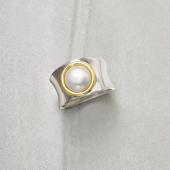 Italian 9.5-10mm Cultured Pearl Ring in 18kt Bonded Gold and Sterling Silver