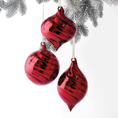 Kurt Adler Red Glass Ornaments, , default