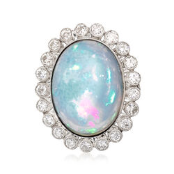 C. 1950 Oval Opal and 1.20 ct. t.w. Diamond Ring in Platinum , , default