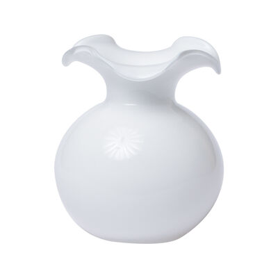 "Vietri ""Hibiscus"" Small White Fluted Glass Vase from Italy, , default"