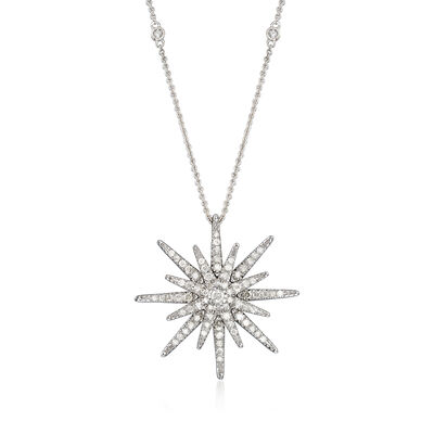 .75 ct. t.w. Diamond Starburst Necklace in Sterling Silver, , default