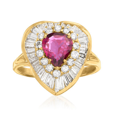 C. 1980 Vintage .75 Carat Ruby and 2.35 ct. t.w. Diamond Ring in 14kt Yellow Gold