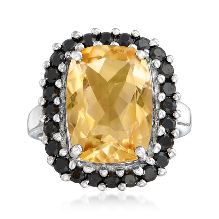 6.50 Carat Citrine and Black Spinel Ring in Sterling Silver