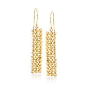 14kt Yellow Gold Beaded Bar Drop Earrings, , default