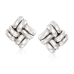 Sterling Silver Basketweave Clip-On Earrings, , default