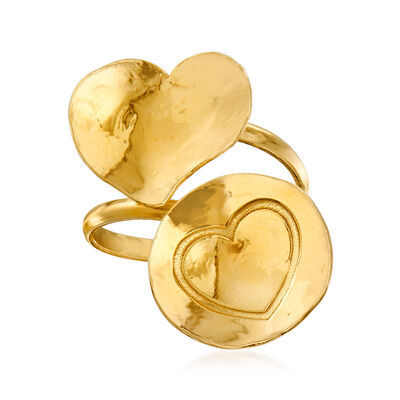 Italian 18kt Gold Over Sterling Heart Bypass Ring