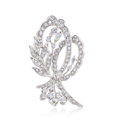 C. 1970 Vintage 4.60 ct. t.w. Floral Diamond Pin in Platinum, , default