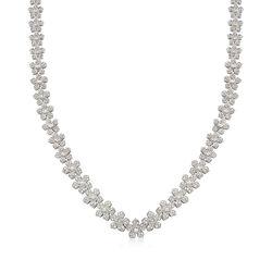 C. 1990 Vintage 6.50 ct. t.w. Diamond Floral Necklace in 18kt White Gold, , default