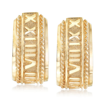 C. 1990 Vintage 14kt Yellow Gold Roman Numeral Earrings, , default