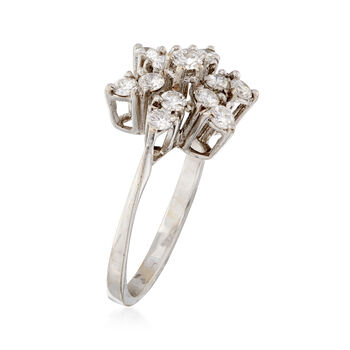 C. 1980 Vintage .75 ct. t.w. Diamond Flower Ring in 18kt White Gold. Size 5.5