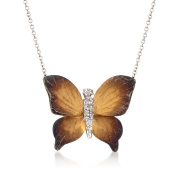 "Simon G. .10 ct. t.w. Diamond Butterfly Pendant Necklace in 18kt Two-Tone Gold. 17"", , default"