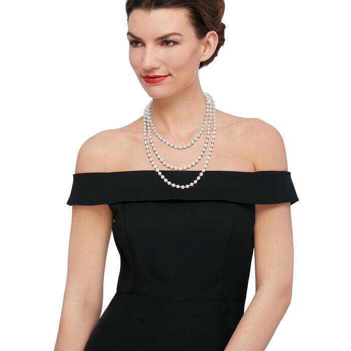 7-7.5mm Cultured Pearl and Sterling Silver Bead Endless Necklace 64-inch