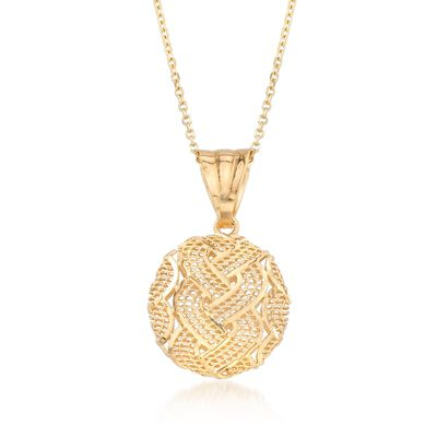 Italian 14kt Yellow Gold Braid-Patterned Circle Pendant Necklace, , default