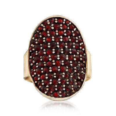 C. 1940 Vintage 4.00 ct. t.w. Garnet Shield Ring in 14kt Yellow Gold, , default